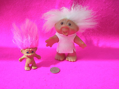 Collectable Trolls X 2 Large/small Cerise/white Hair