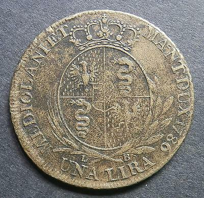 Italian States - Milan 1 Lira 1786 - brass colour / maybe lower silver pattern ?