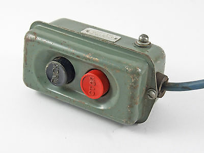 Vintage industrial heavy duty push buttons switch machinist factory 1963