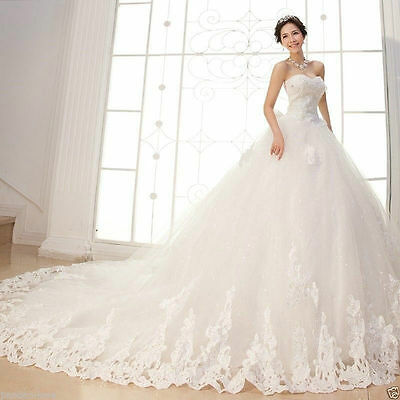 White/Ivory Strapless Wedding Dress Lace Bridal Gown Custom Size 6-8-10-12-14-16