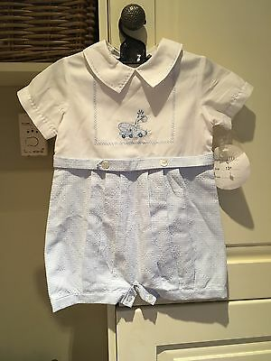 NWT Summer Christening outfit boy 12 Months White And Blue