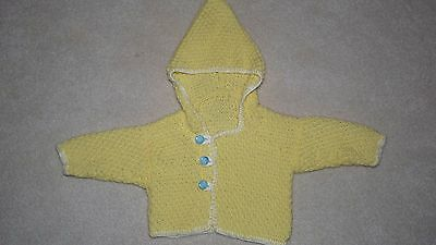 NEW Handknit baby hoodie sweater Sz 3-6 months. Soft organic soy yarn. Great gif