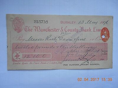 Vintage The Manchester & County Bank Check 1896 Genuine!