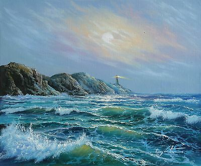 """Original Oil Painting By J. LITVINAS """"LIGHTHOUSE"""" 10X12 INCH"""