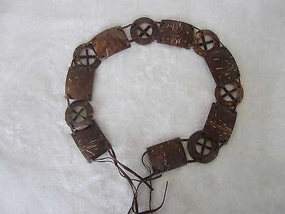 South Pacific VTG Carved Coconut Shell Belt