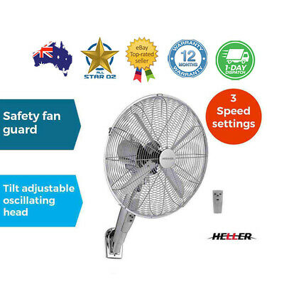 Wall Mounted Fan with Remote Control Oscillating Timer Chrome 40cm Heller
