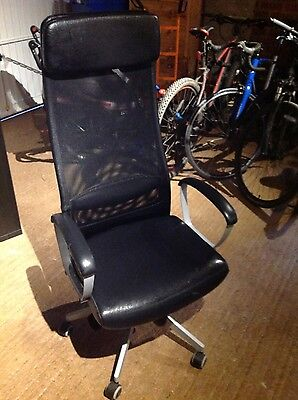 IKEA Black Executive Office Desk Chair High Mesh Back Swivel Faux Leather