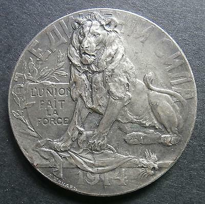 Russian medallion - Homage to Belgian nation 1914 - silver-plated bronze 32.5mm
