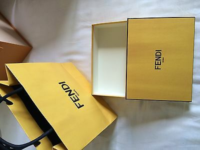 "Authentic FENDI Empty Box 8.5""×6.5""×2"" with paper bag"
