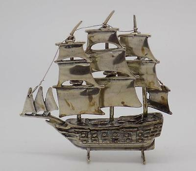 36g Vintage Solid Silver Sailing Ship Miniature - Stamped - Made in Italy