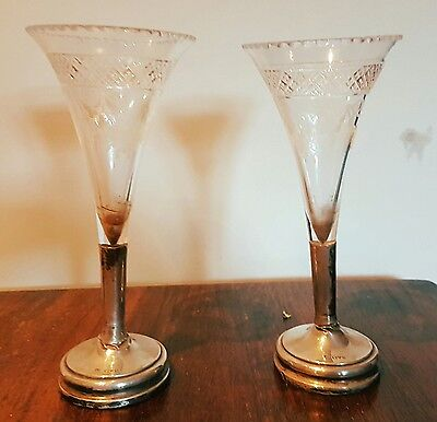 Pair of Solid silver and glass Goblets. Chester 1910