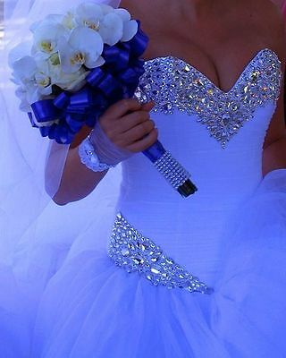 New White/Ivory Wedding Dress Crystal Bridal Gown Custom Size 6-8-10-12-14-16-18