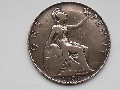 RARE 1906 King EDWARD VII ONE PENNY   Coin