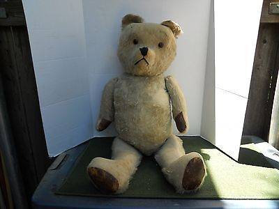 "RARE 34"" ANTIQUE MOHAIR STRAW STUFFED TEDDY BEAR - C1920's"