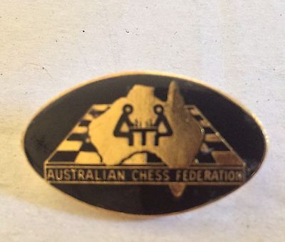 Vintage Gold Plated Enamel Australian Chess Federation Pin Badge