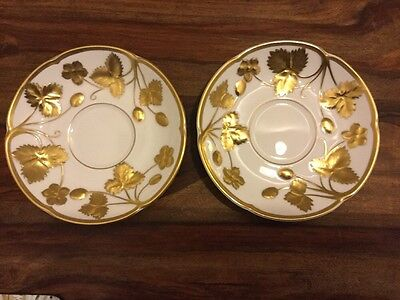 Pair Of Minton Victoria Strawberry Gold Tea Saucers