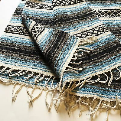 Vtg Mexican Serape Blanket Blue Black Grey White Southwestern Yoga Rug Hand Tied