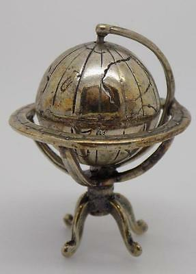 Vintage Solid Silver Globe Miniature - Dollhouse - Stamped - Made in Italy