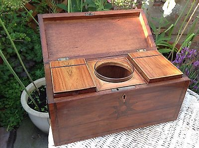 Antique Victorian Inlaid Tea Caddy Box Wooden Complete Good Condition.