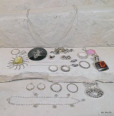 Estate Find Sterling Silver Jewelry Lot Pendants Rings Earrings Necklaces & More