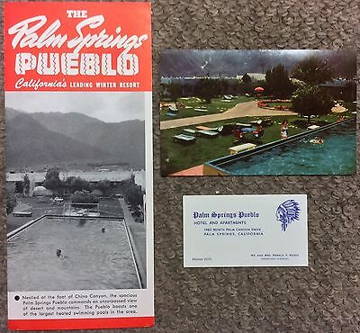 Vintage 1950 The Palm Springs Pueblo Resort Illustrated Brochure, California