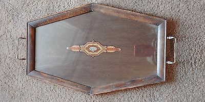 Vintage Oak Wooden Serving Tray With Handles, Excellent Condition