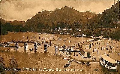 1910s Postcard; View from N.W.P. RR at Monte Rio CA 2191 Footbridge & Boats