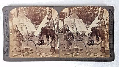"""Sioux Native American """"Indian"""" Camp~ 1907 Jamestown Expo~Underwood stereoview"""