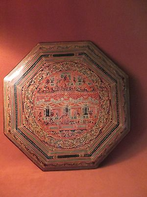 Burmese lacquer -unusual hexagonal shaped lid 15""
