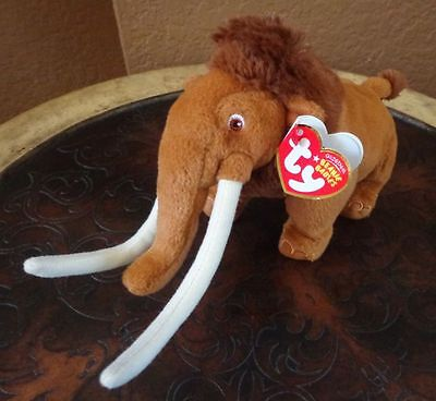 """Ty Ice Age Beanie Babies Manny the Wooly Mammoth Plush Toy 6"""" New with Tags"""