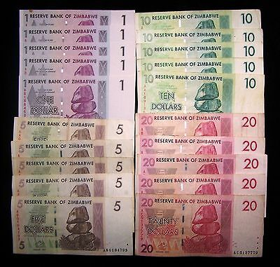 20 Zimbabwe banknotes-5 x 1,5,10 & 20 dollar-paper money currency