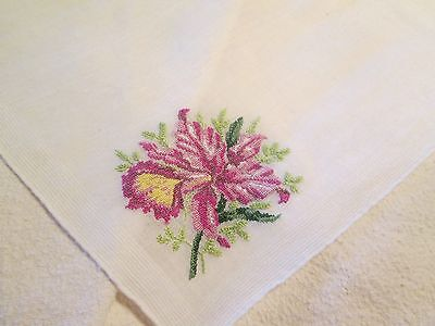 Vintage German No Label Petite Point Orchid  Linen Blend White Ladies Hankie