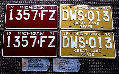 1970  1971 MICHIGAN License Plate Pairs  NOS  1972