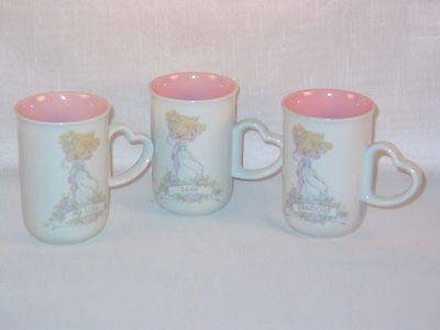 "Precious Moments Cups 1990 ""my Love"", ""precious"", And ""dear"" Lot Of 3"