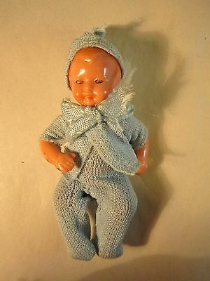 """Vintage  Doll House Jointed Arms Legs Baby Boy Doll   Dressed Blue Pajamas 3"""" T"""