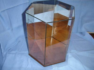 """Hexagon Glass Tabletop Showcase Curio Display Case Mirrored Back Hinged Top 14"""""""