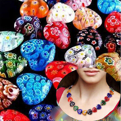 Wholesale 100pcs Shining Heart Millefiori Glass Craft Beads 8mm Multi-Color