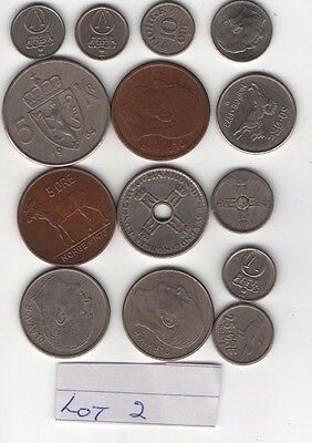 Norwegian coins 13 in total     Various dates and values. reduced start price