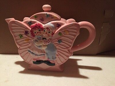 Simon And Schuster Pink Butterfly Teapot Raggedy Ann And Andy