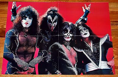 KISS 1976 Destroyer Red Group Poster 17x22 Magazine Centerfold Gene Ace Aucoin