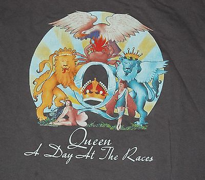 QUEEN Day At The Races Gray Retro T-Shirt Medium Freddie Mercury Brian May