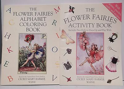 2 Cicely Mary Barker FLOWER FAIRIES Books Paper Dolls Alphabet Coloring KIds