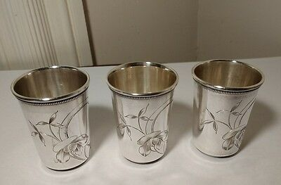 Antique Russian 84 Silver Engraved Flowers Shot Cups (3) KoKoshnik Mark~Moscow