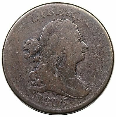 1805 Draped Bust Half Cent, Large 5, Stems, C-4, VG