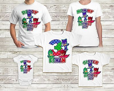 Pj Masks Birthday Tshirt Custom Name and Age Family Shirt Super Gekko Catboy