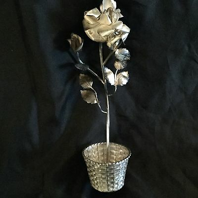 Sterling Silver Hand Made Flower,rose From Mexico,very Beautiful Marked.