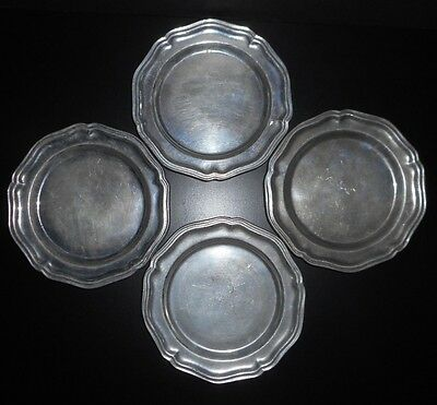 Lot of 4 RWP Wilton Armetale Queen Anne 7 Inch Metal Plates Dessert Salad Dish