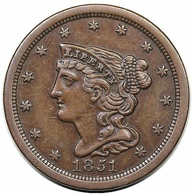 1851 Braided Hair Half Cent, C-1, choice XF+