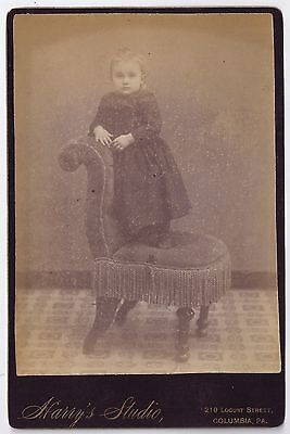Little girl standing on a chair - by Harry's Studio, Columbia, PA