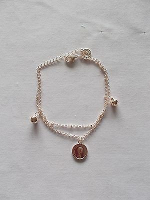 Rose Gold Plated Double Chain Beads & Coin Anklet